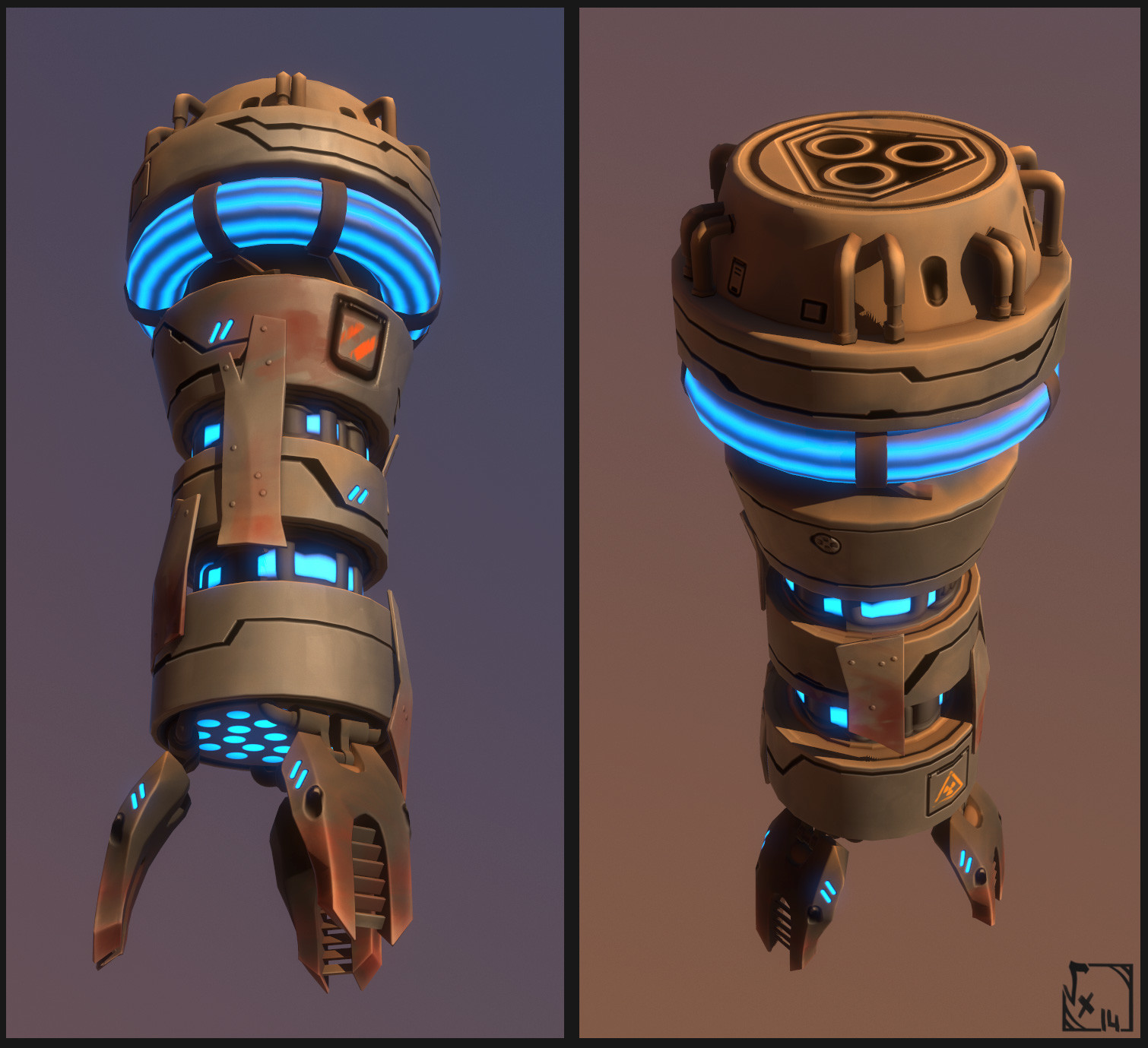 "Engine v2 - this one has a kind of ARK Reactor inspired by the one in ""iron man"" movie, which pulses ingame."