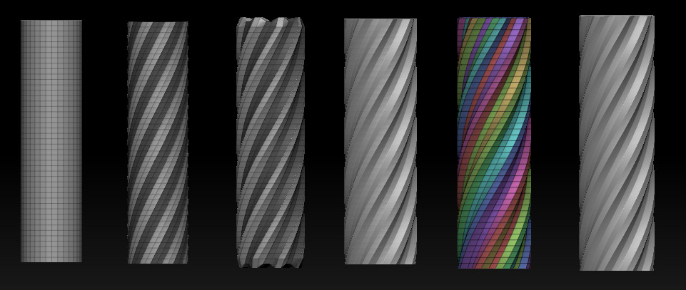 Primitive cylinder initialize > mask col > sel 2 skip 2 and inflate. Polygroup by normal angle, crease pg, dynamic subdiv, and bam, you have a subtractive mesh to use to put some rifling on your barrels!
