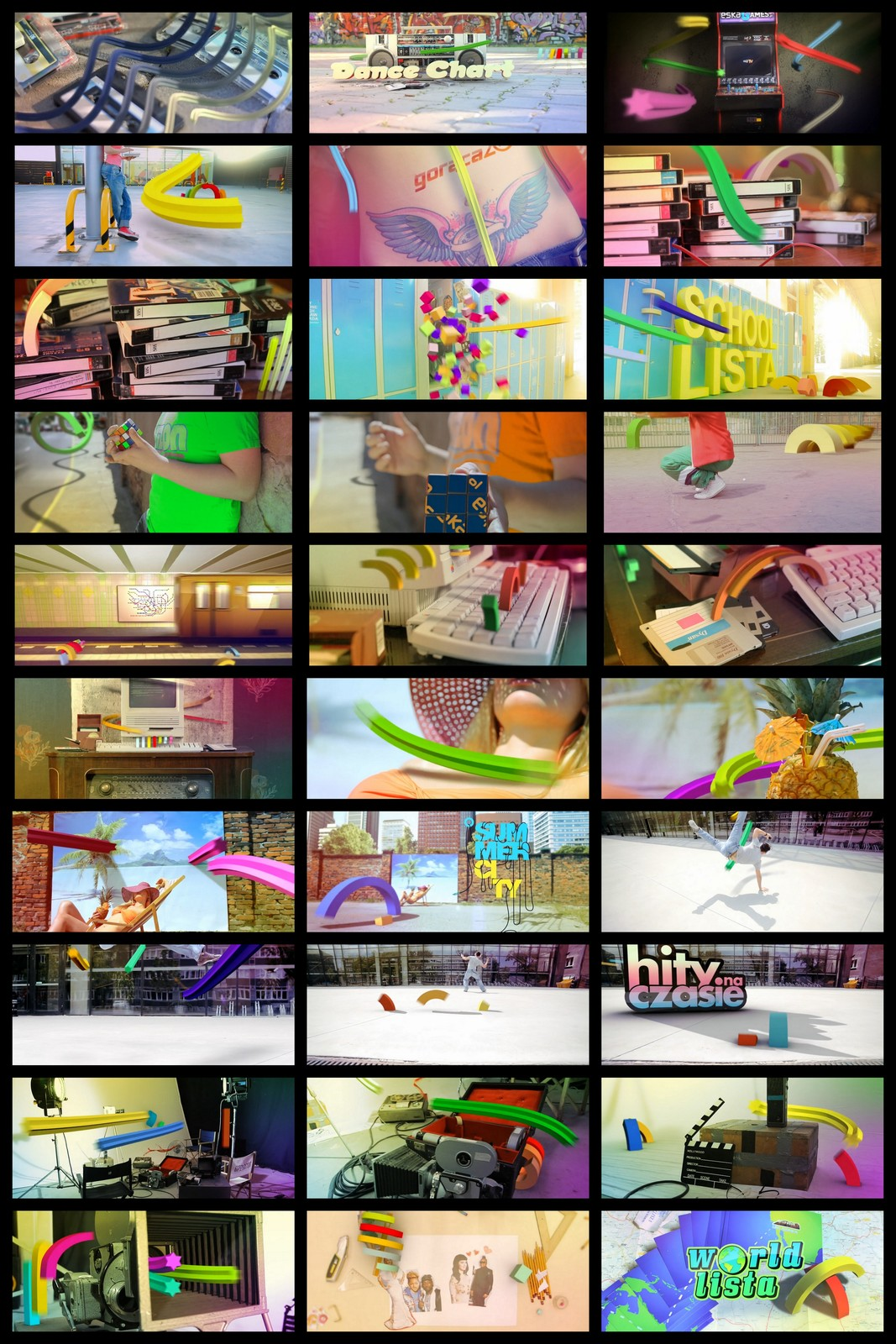 Some representative frames from different intros. Scroll to the bottom to see the video.