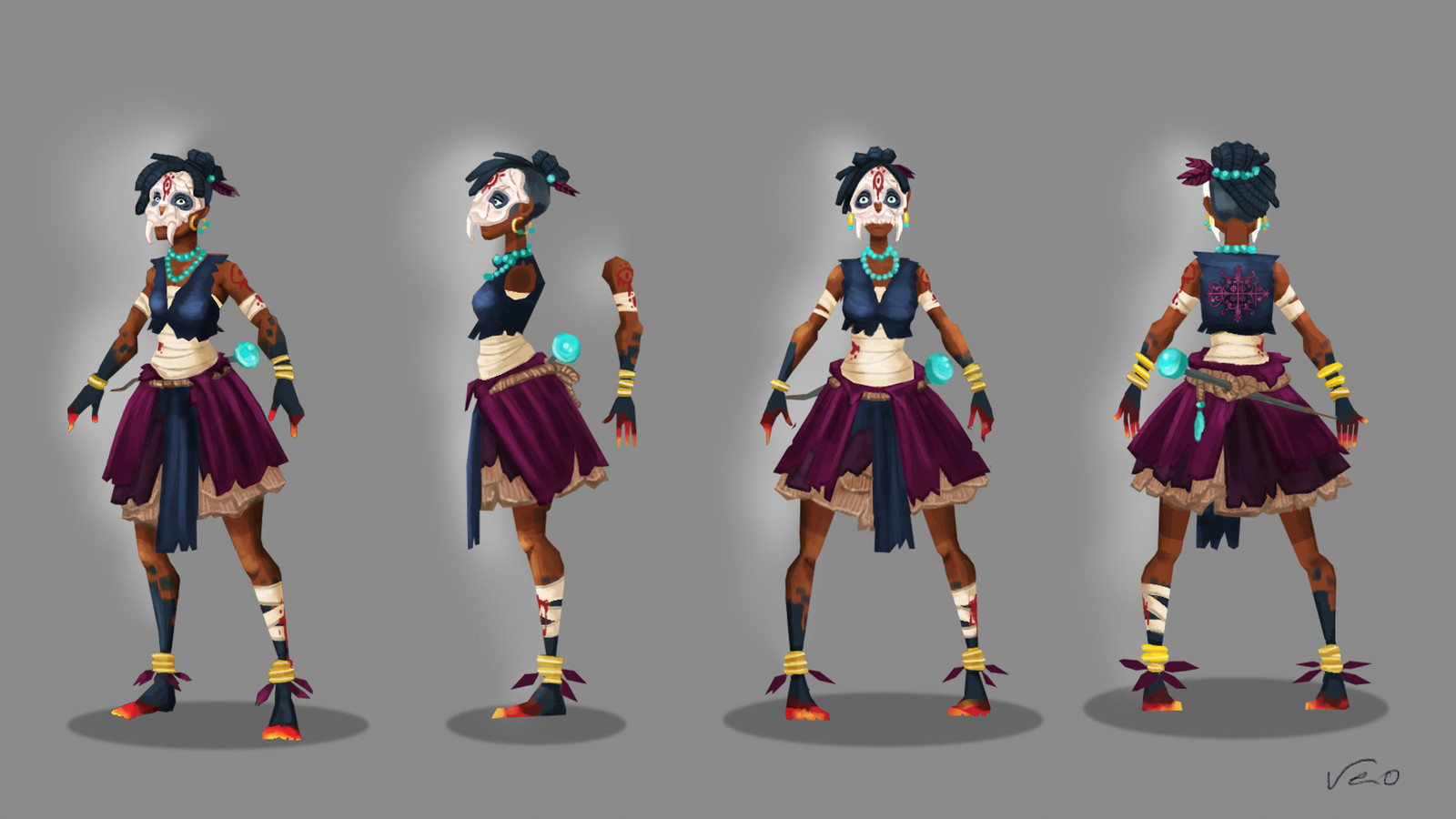 Character concept art. Migou was the main character of the game Soul Food. She's the rebelle apprentice of the voodoo god Papa Legba. In the game, she tries to escape from his wicked claws and find refuge in a church.