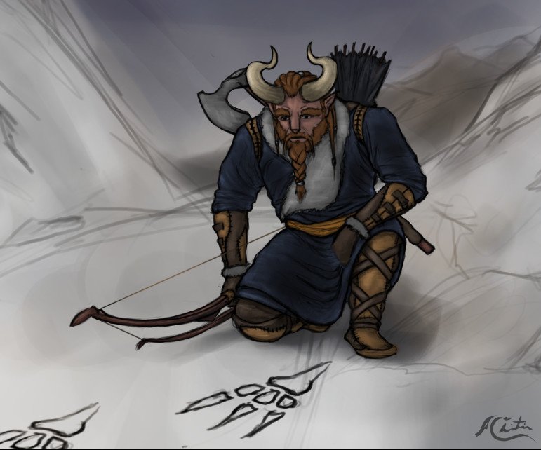 Christian hadfield fantasy art horned archer character by christian hadfield wip2