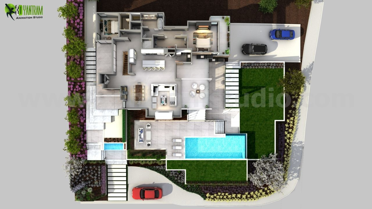 3d floorplan of modern house by yantram floor plan design companies