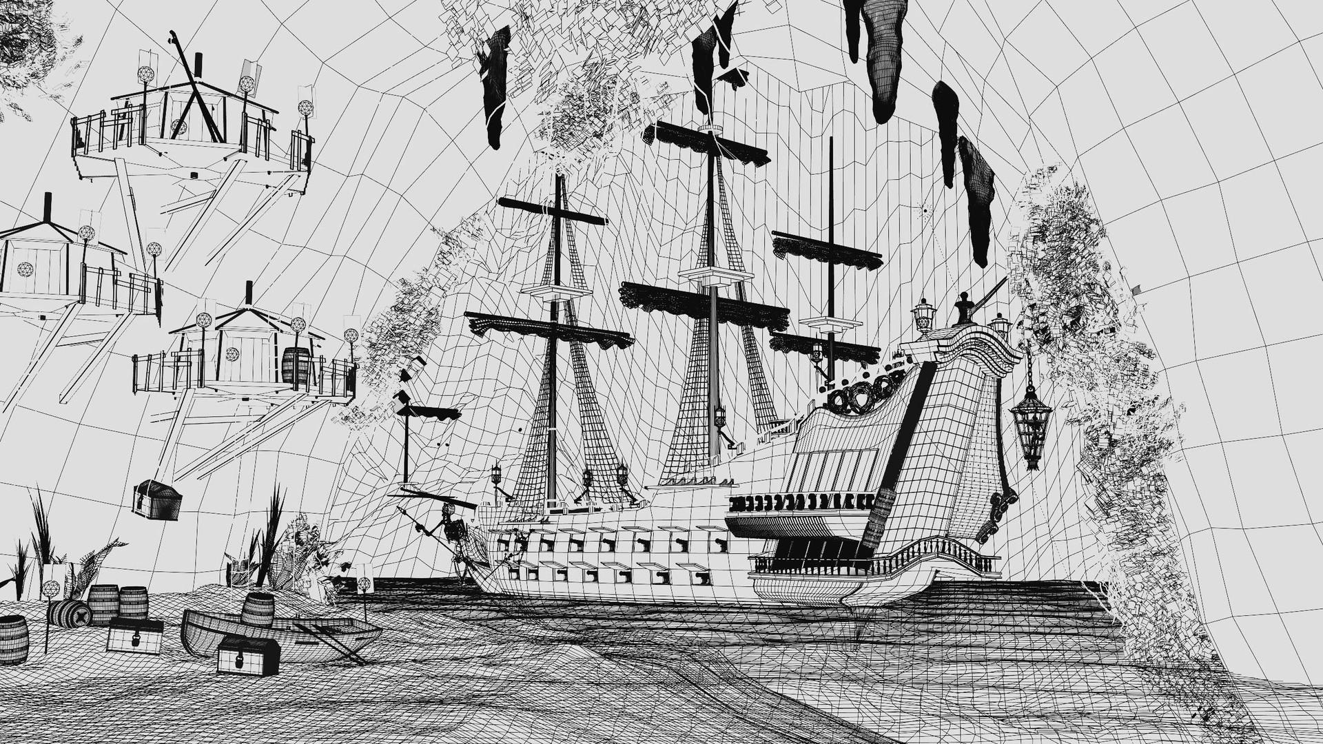 Blackbeard's ship: Queen Anne's Revenge (wireframe)