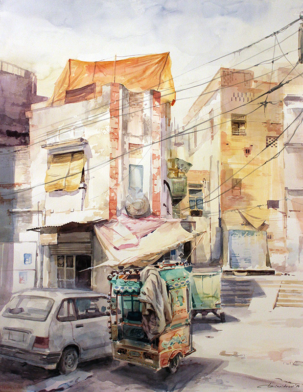 Old streets - watercolor (50x64cm)