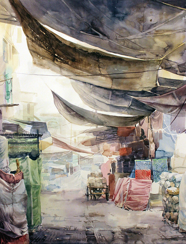Early morning bazar  - watercolor (50x64cm)