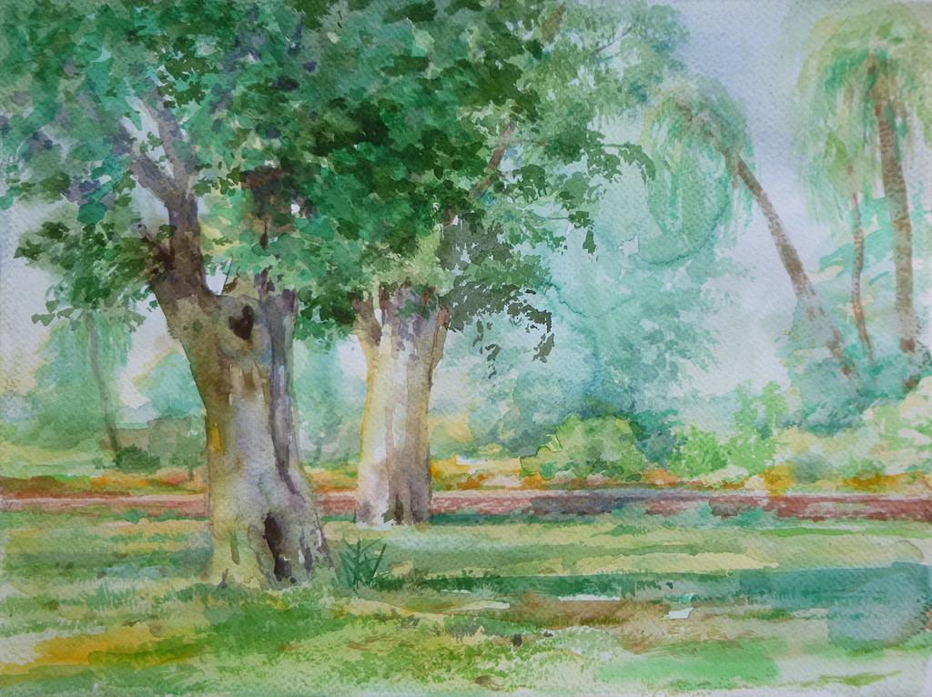 Jahangirs tomb garden - watercolor  (21x29.7cm)