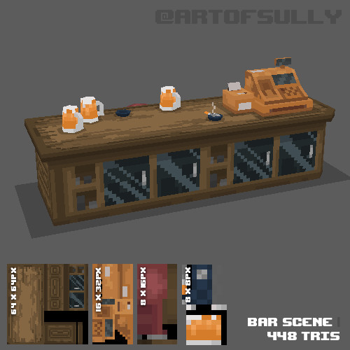 3D Pixel-Art Bar Scene (Commission)