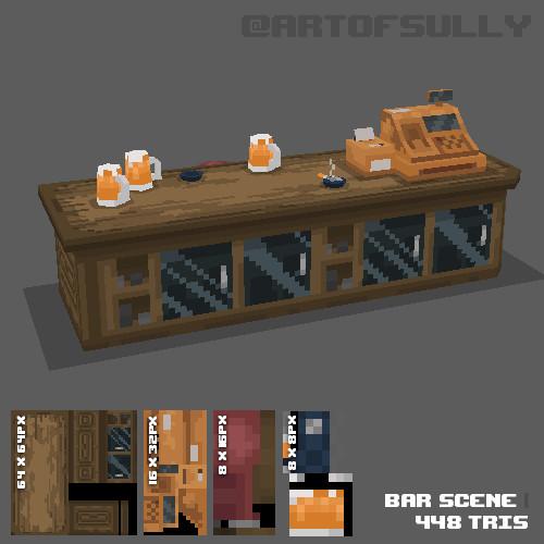 3D Pixel-Art Bar Scene (Commission)