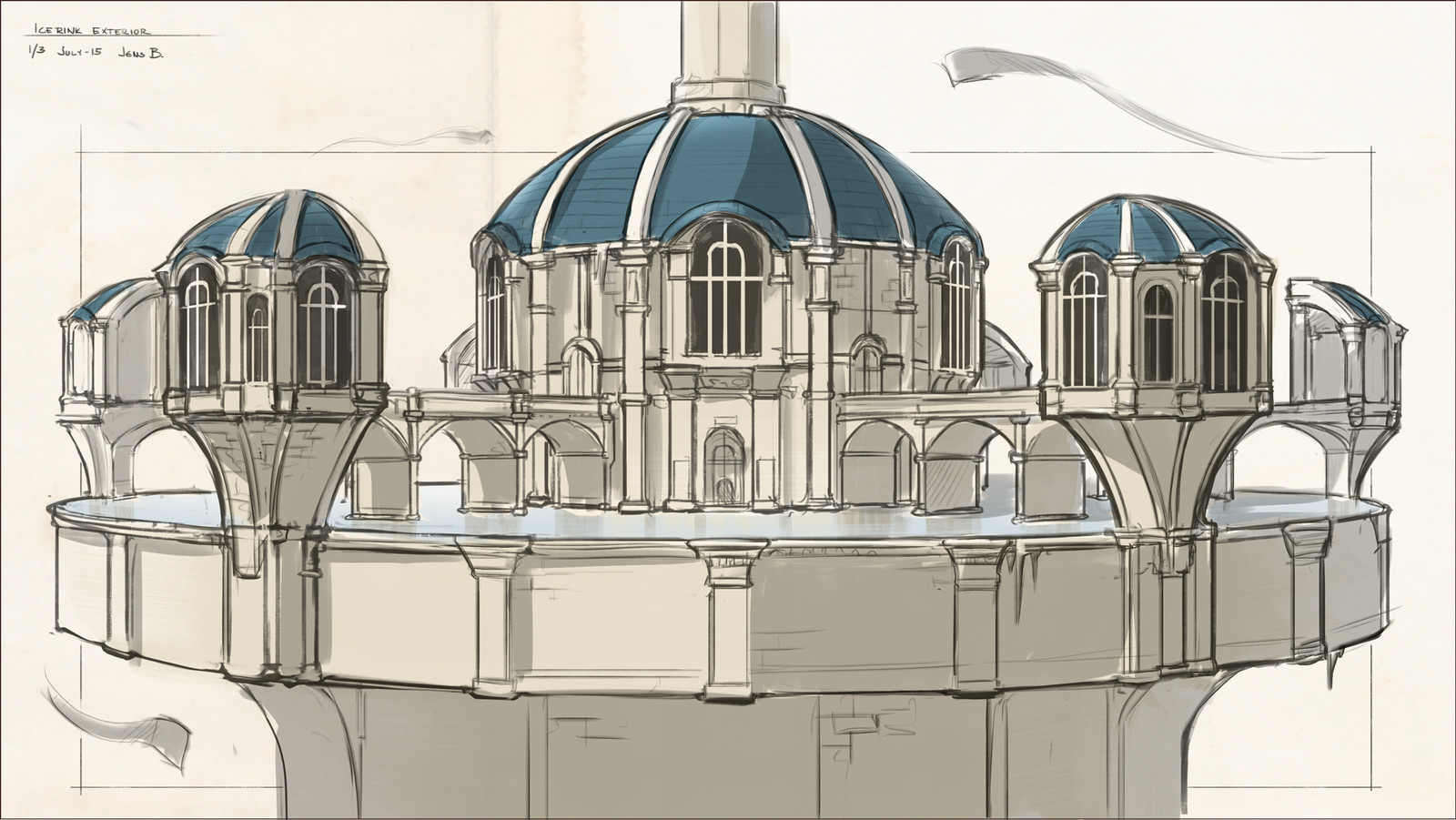 Putting it all together: The exterior of the Ice Rink and Café.