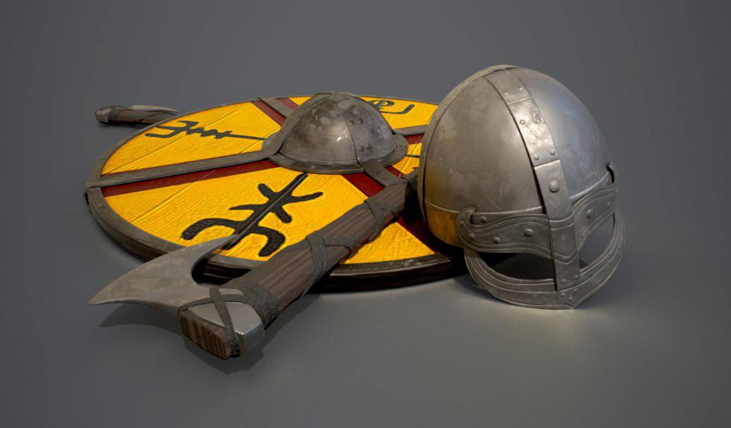 Viking Axe, Helmet, and Shield