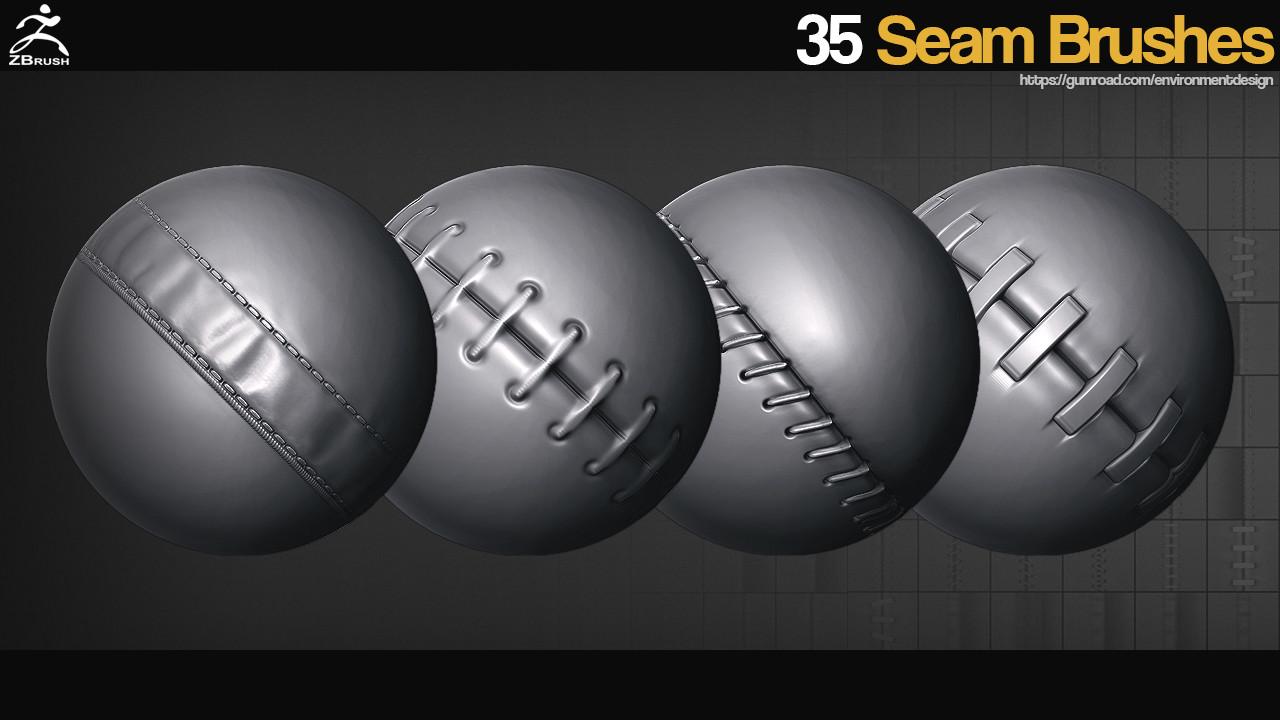 ArtStation - ZBrush - 35 Seam Brushes, jonas ronnegard