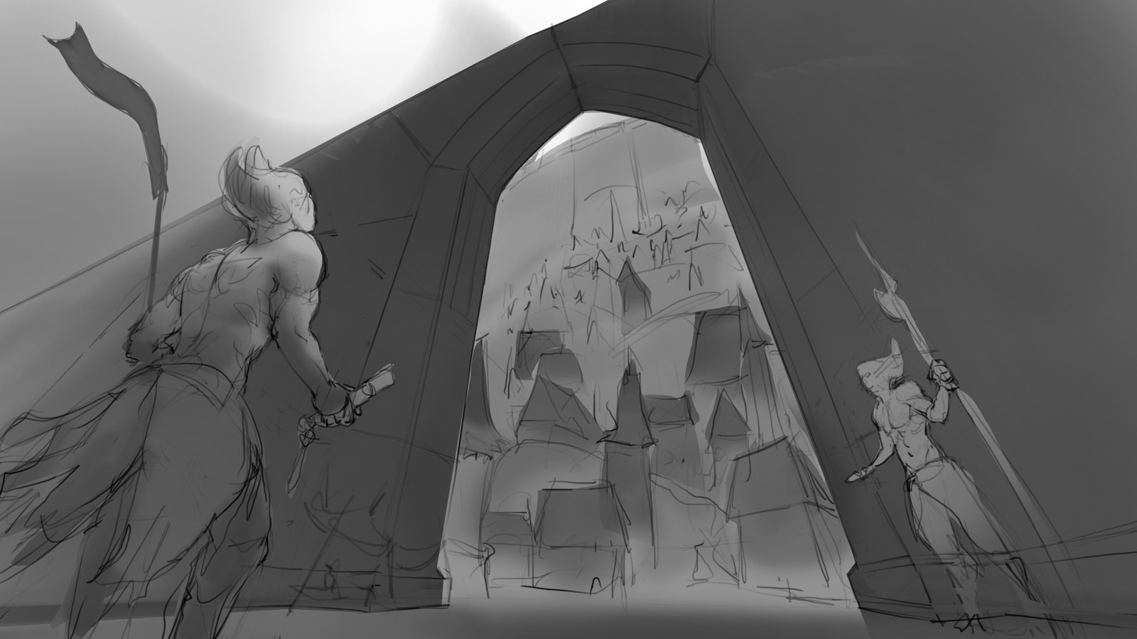 second draft. I liked this perspective since i wanted to show a close up of the character while focusing on the massive gate and city beyond.