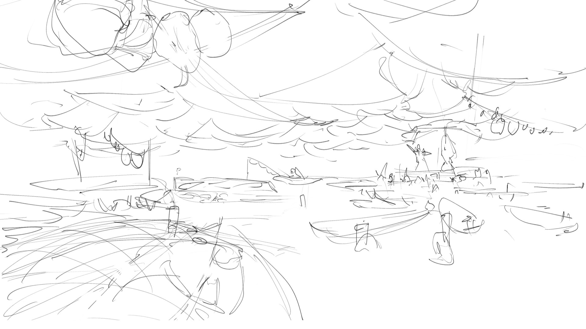 Sketch of the fish market. I had a clear idea from the start. Inspired by asian floating markets.