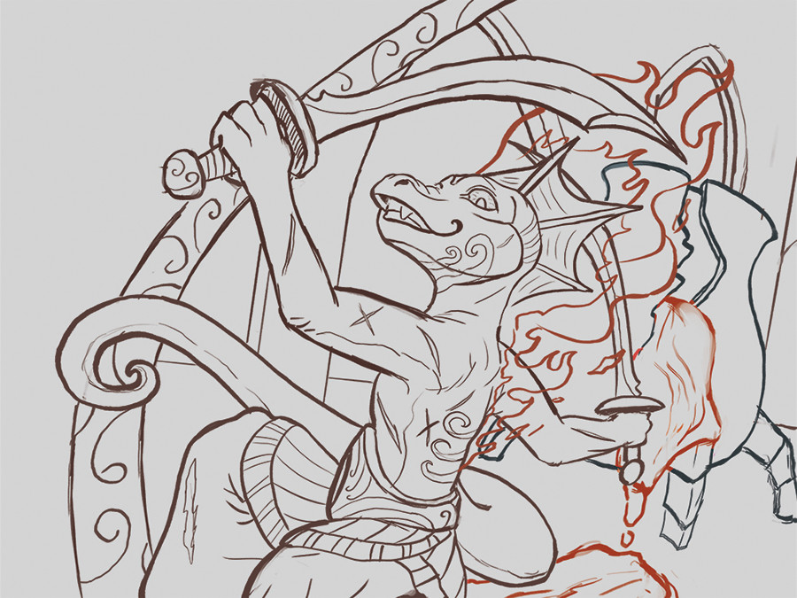 Linework. Purposely rough based on client's preference.