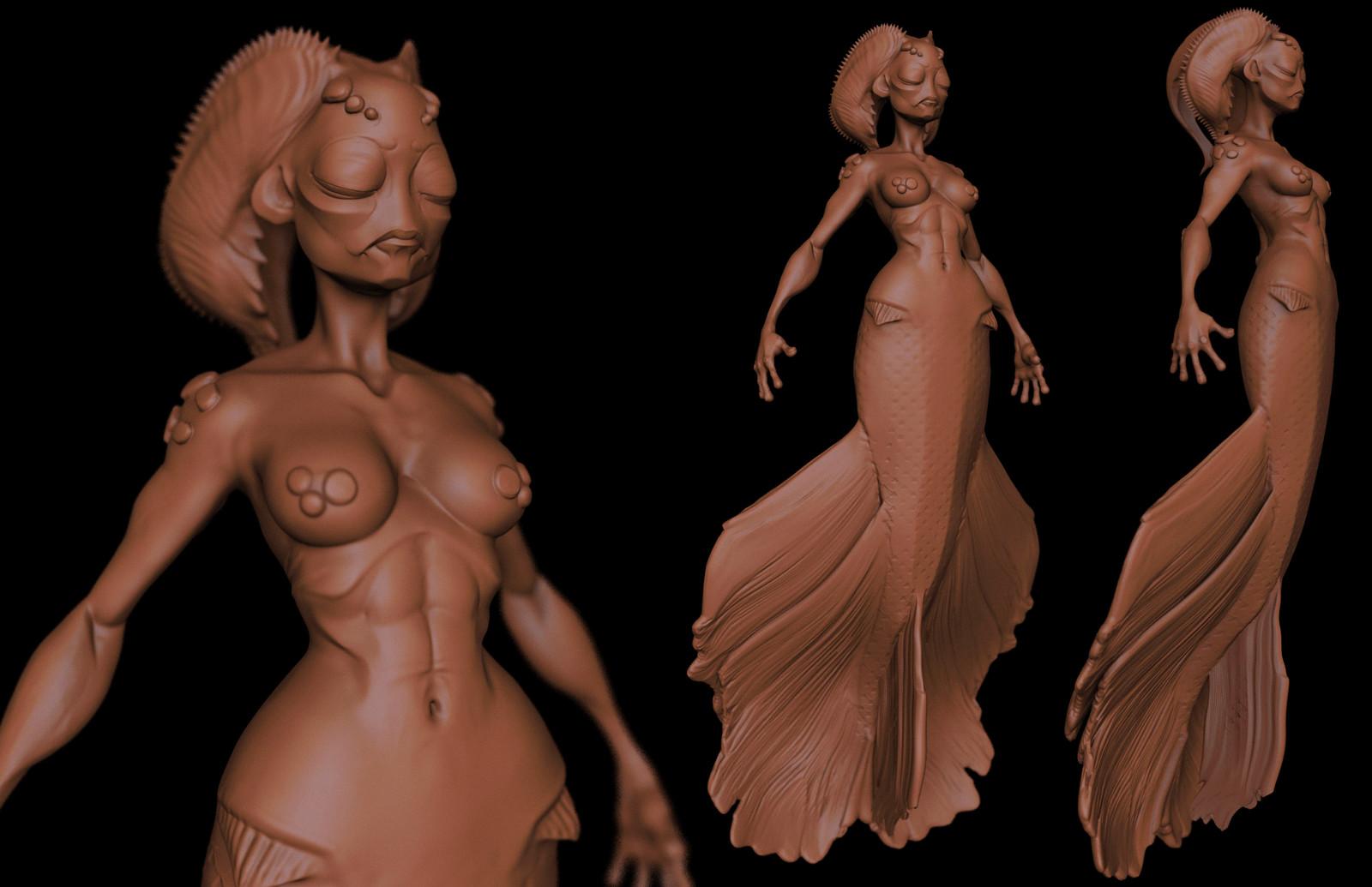stylized mermaid doodle WIP