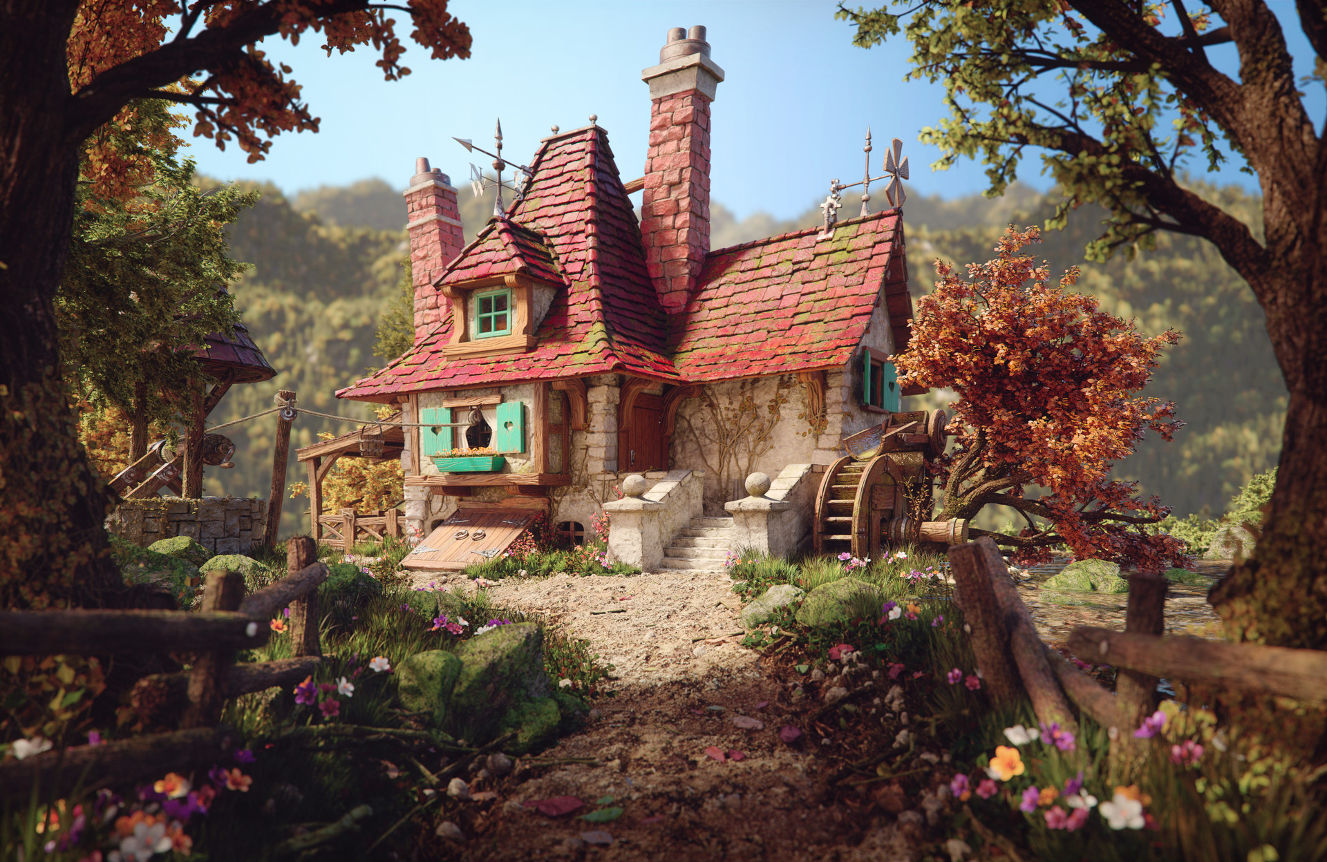 Belle s cottage 3d art by rafael chies zbrushtuts for The cottage house
