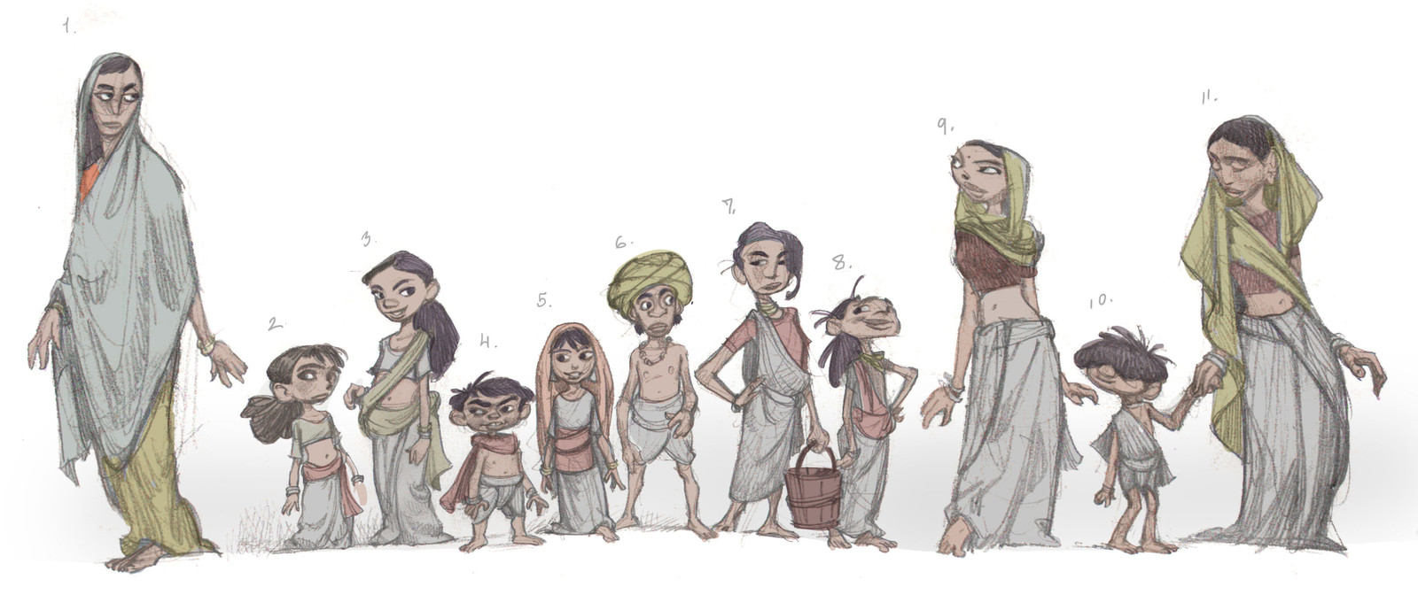 Character Design process sketches for a canceled animated film project
