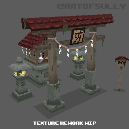 3D Pixel-Art Japanese Shrine - Texture Rework WIP
