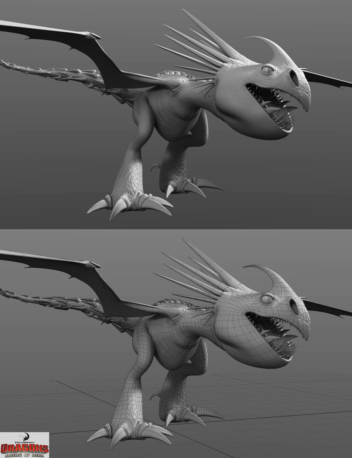 Stormfly with Normal Map and Stormfly with wireframe for DreamWorks Animation - Dragons: Riders of Berk.
