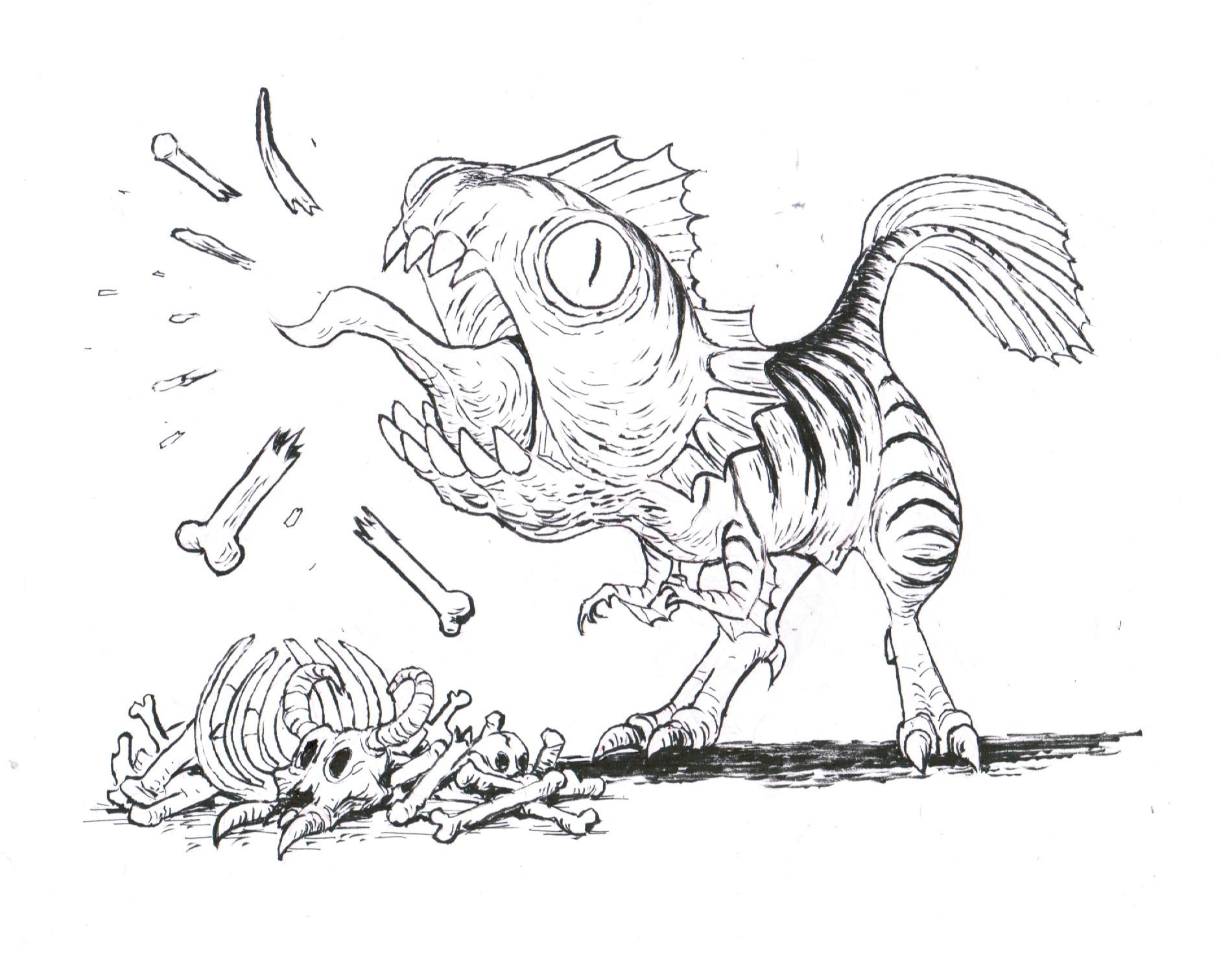 The piranhasaurus loved to chew on piles of broken bones.