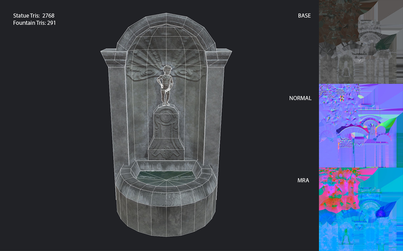 Low poly game asset: Brussels style statue/fountain