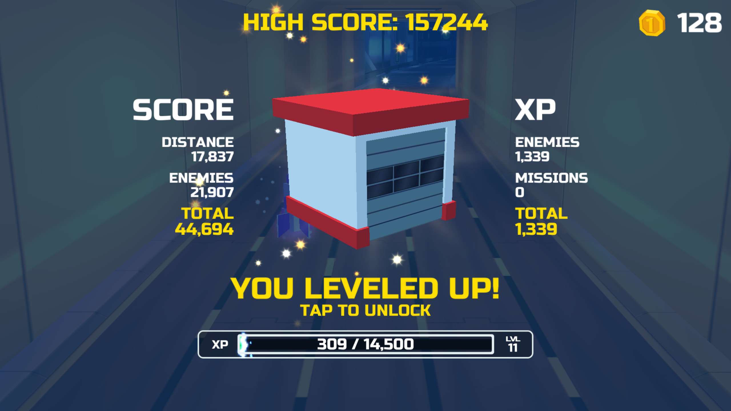 Level up screen