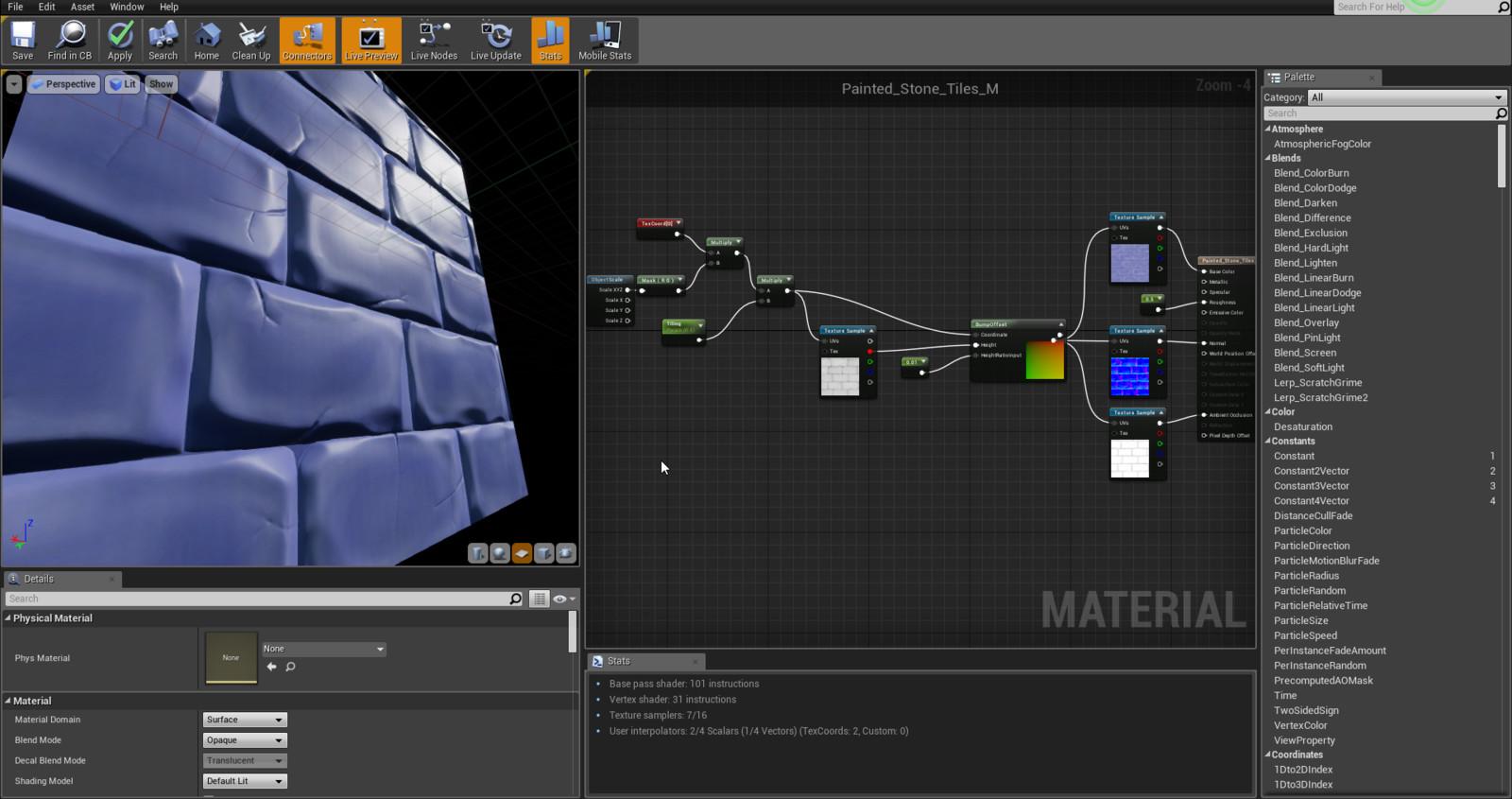 material setup in ue4
