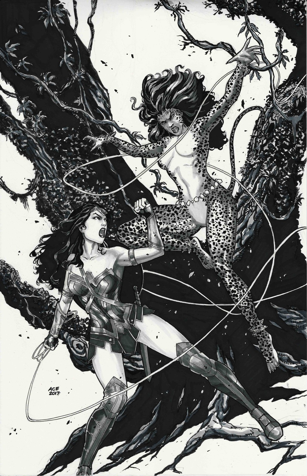 Wonder Woman vs Cheetah commission for SDCC 2017