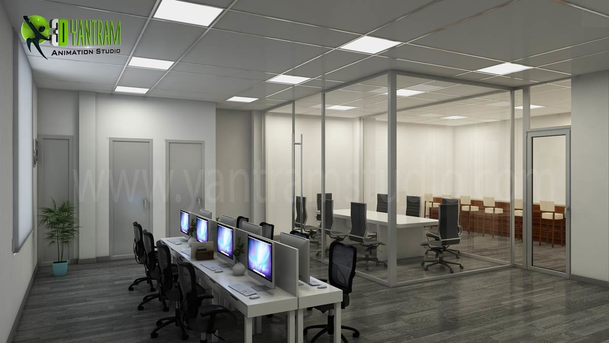 artstation modern creative 3d commercial office design view