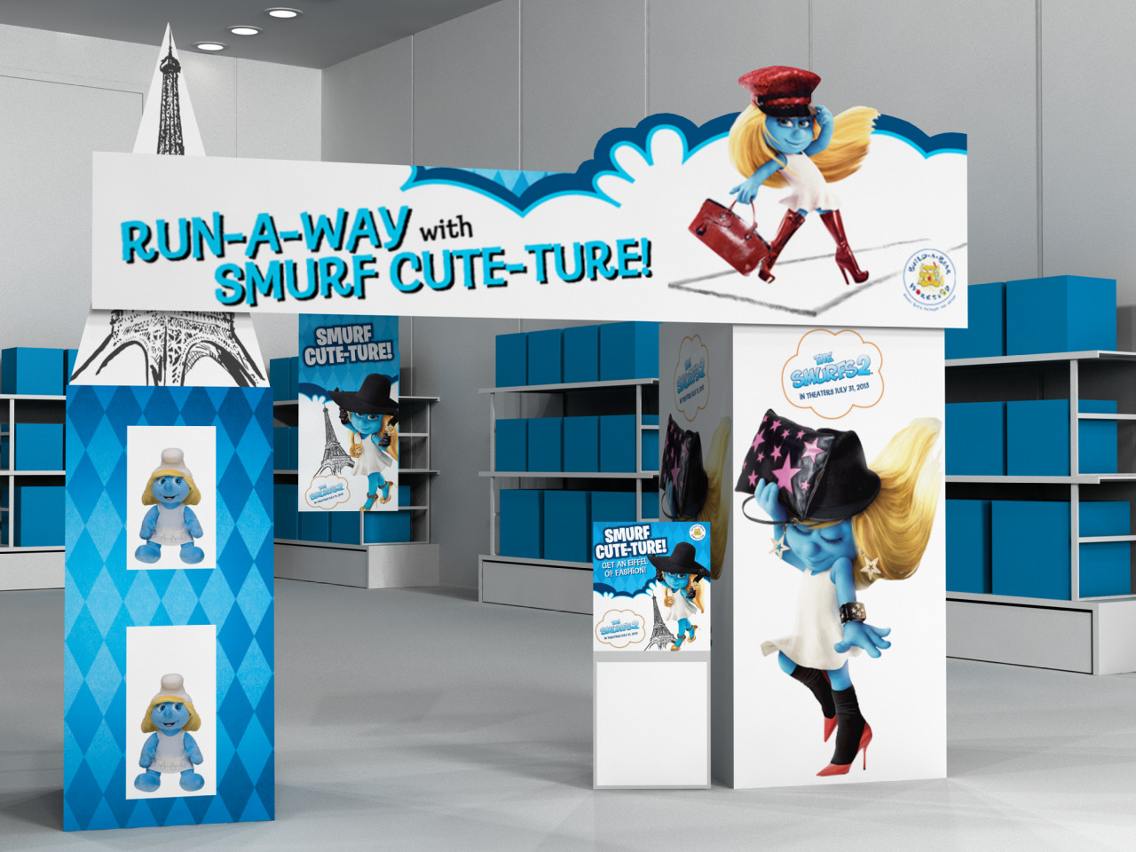 Modeled, light, and rendered images of a possible Build-A-Bear store display  for the new Smurf movie.