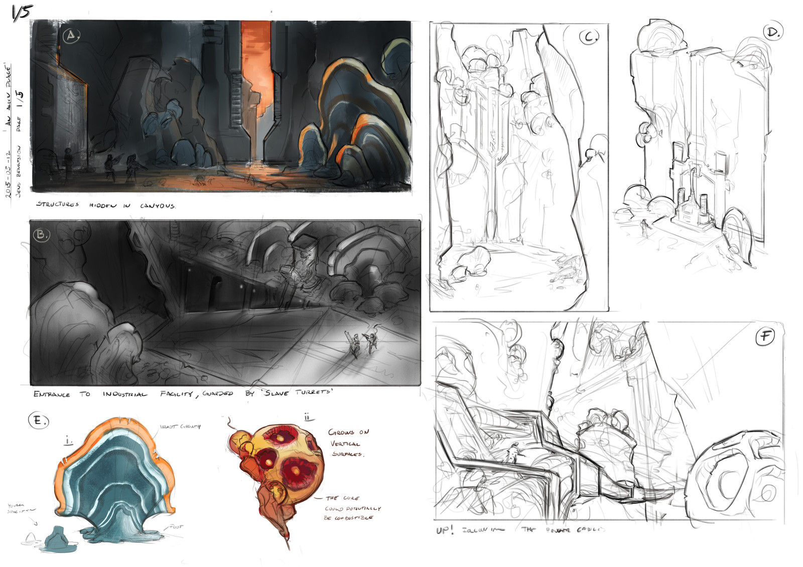 Development sketches - decaying architecture and flora