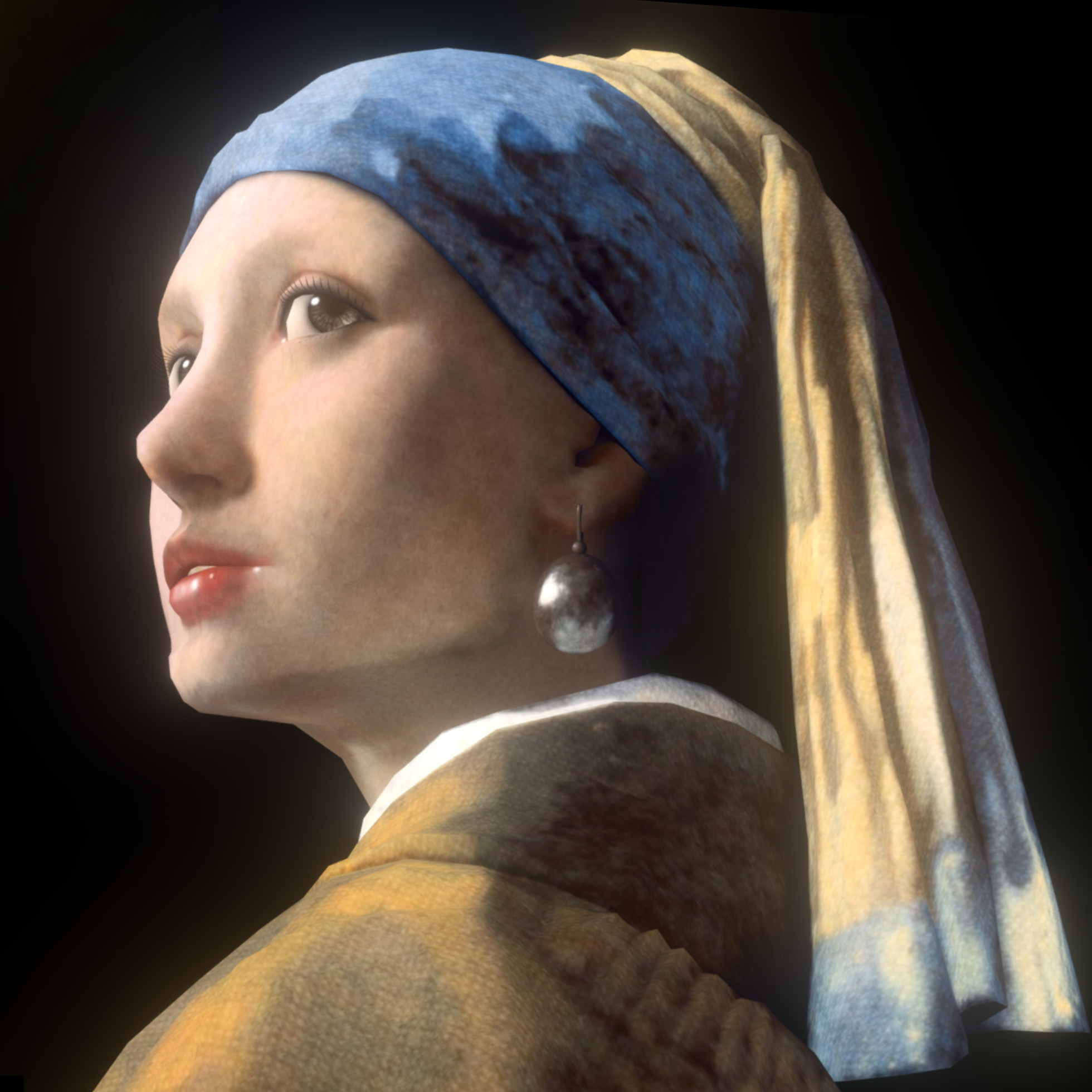 A low angle close up shot of Girl with a Pearl Earring 3D