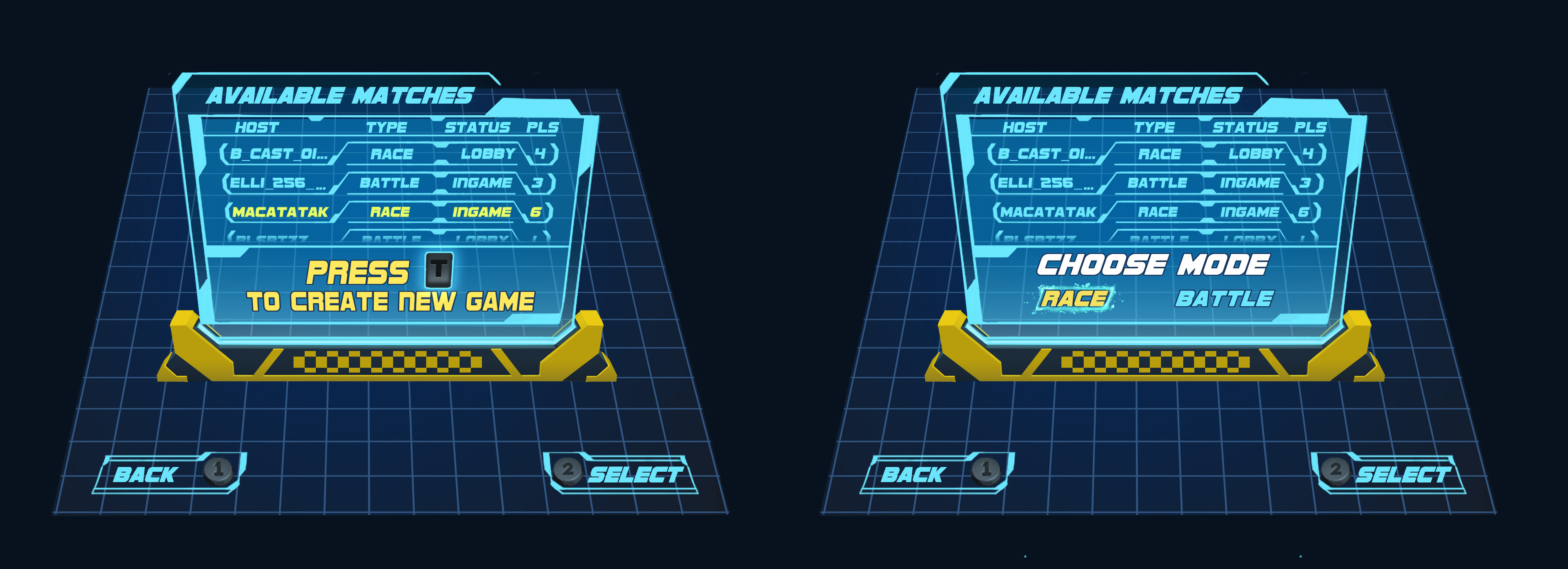 LAN multiplayer game select/create screen. It was a real challenge do do all this on one screen and we never got to really how well this implementation worked.