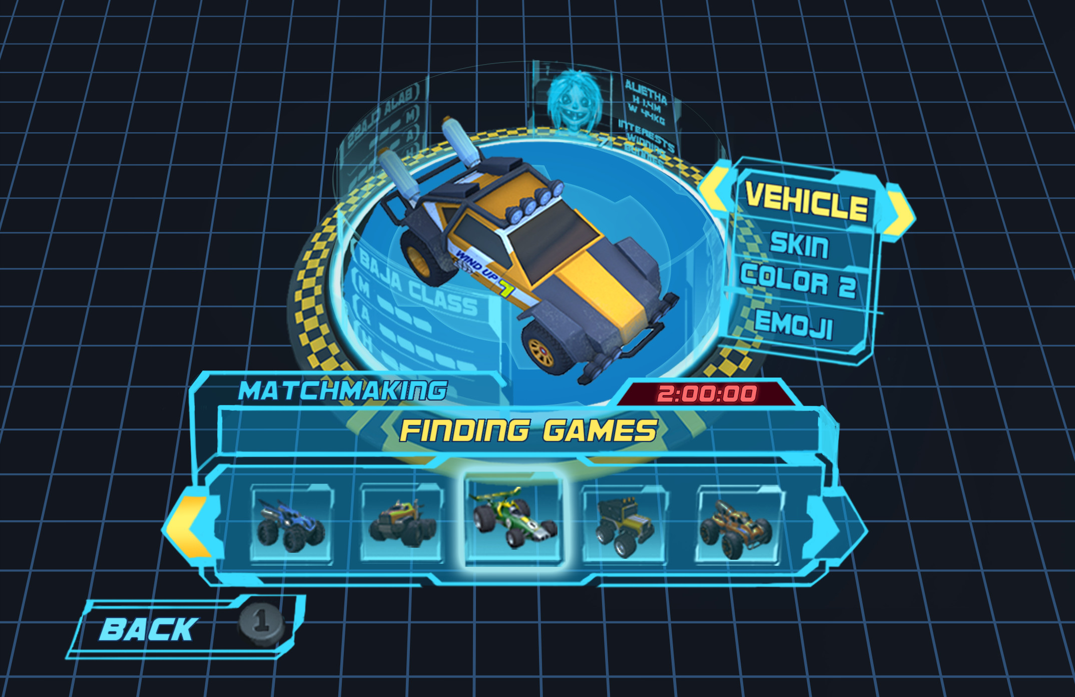 Multiplayer Vehicle Select/Customization with Matchmaking feature. We wanted to give the players something to do while waiting for matchmaking to happen.