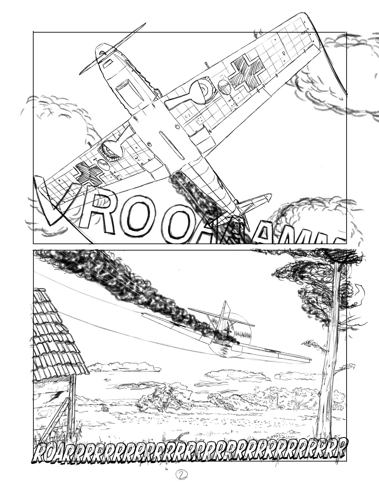 Pencils for page two of a twelve page sequence. I'd love to work with a real letterer. The vrooaam sound fx still sucks