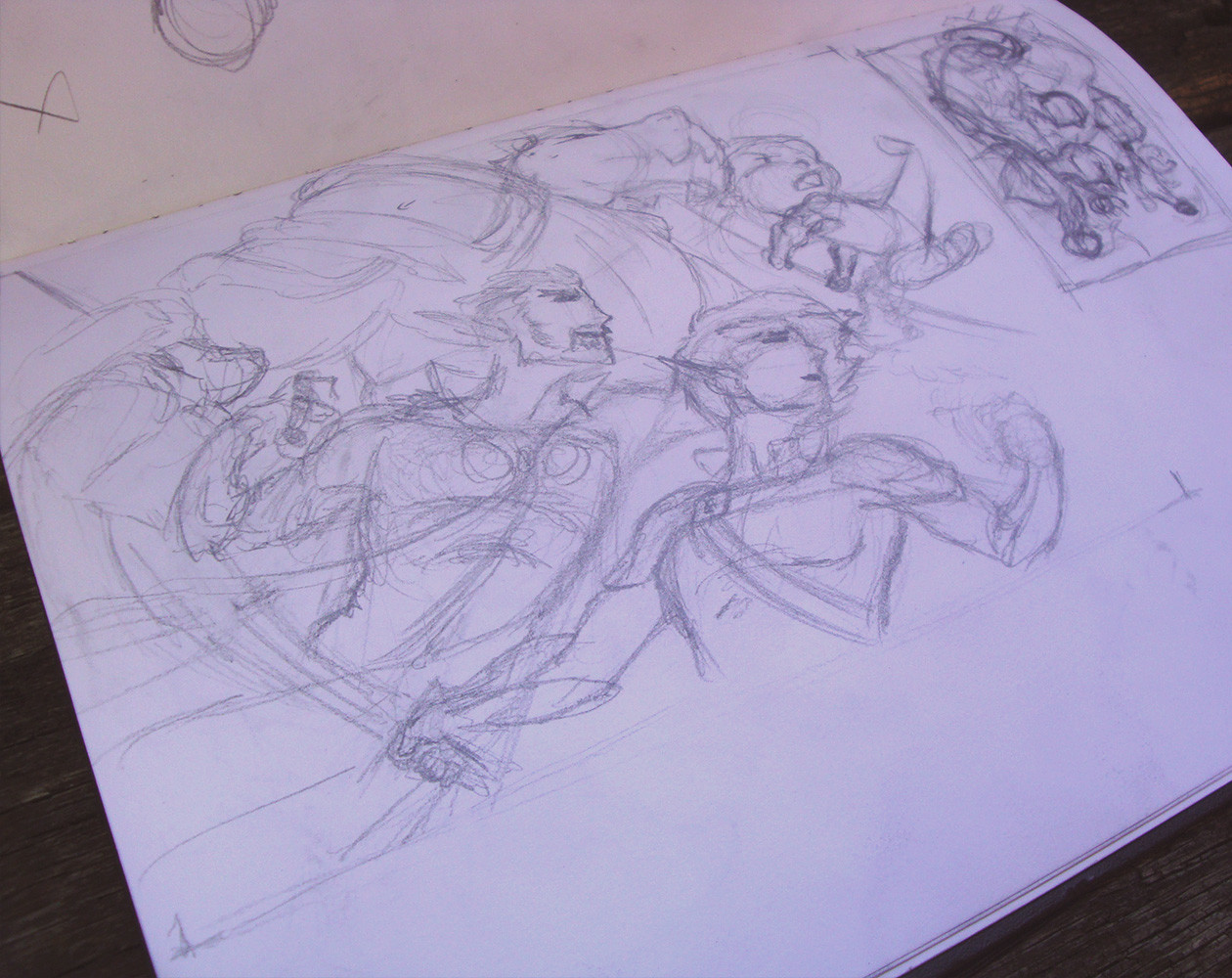 original Thumbnail sketch on the top right with a rough layout of positioning