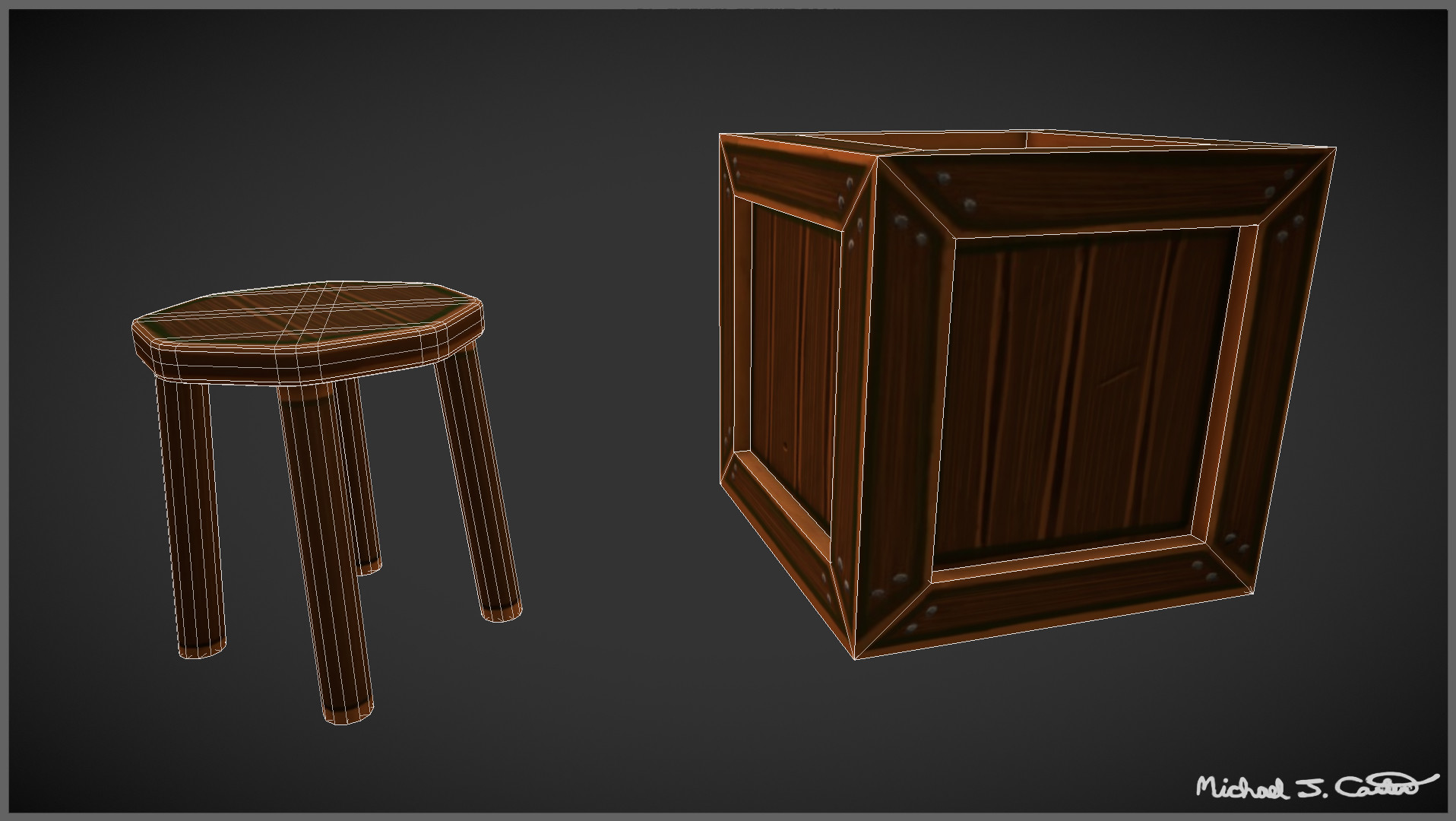 Michael jake carter mcarter wood assets wireframe view image