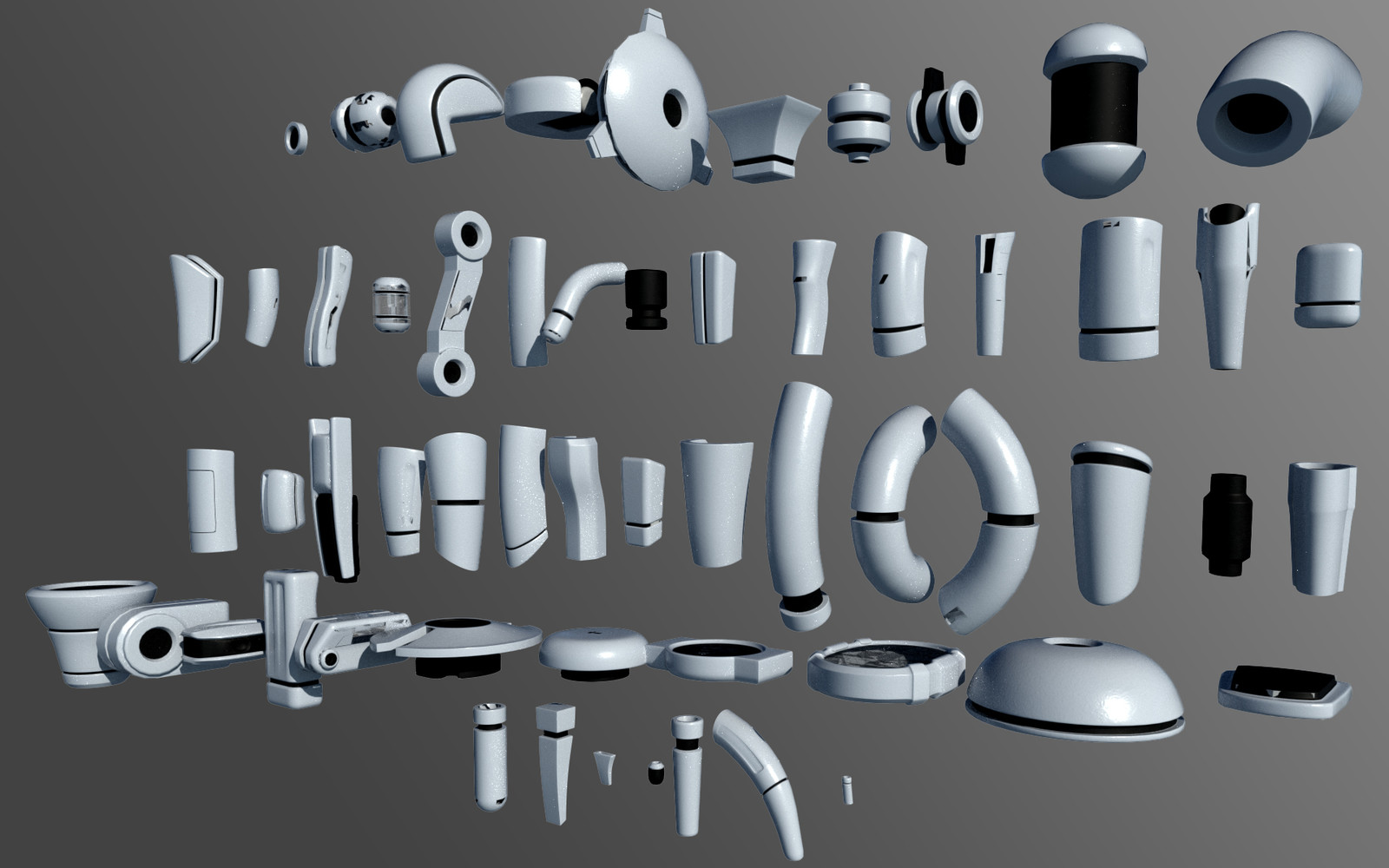 Here's a preview of all the different parts, each one with a set of entry points to attach joints.