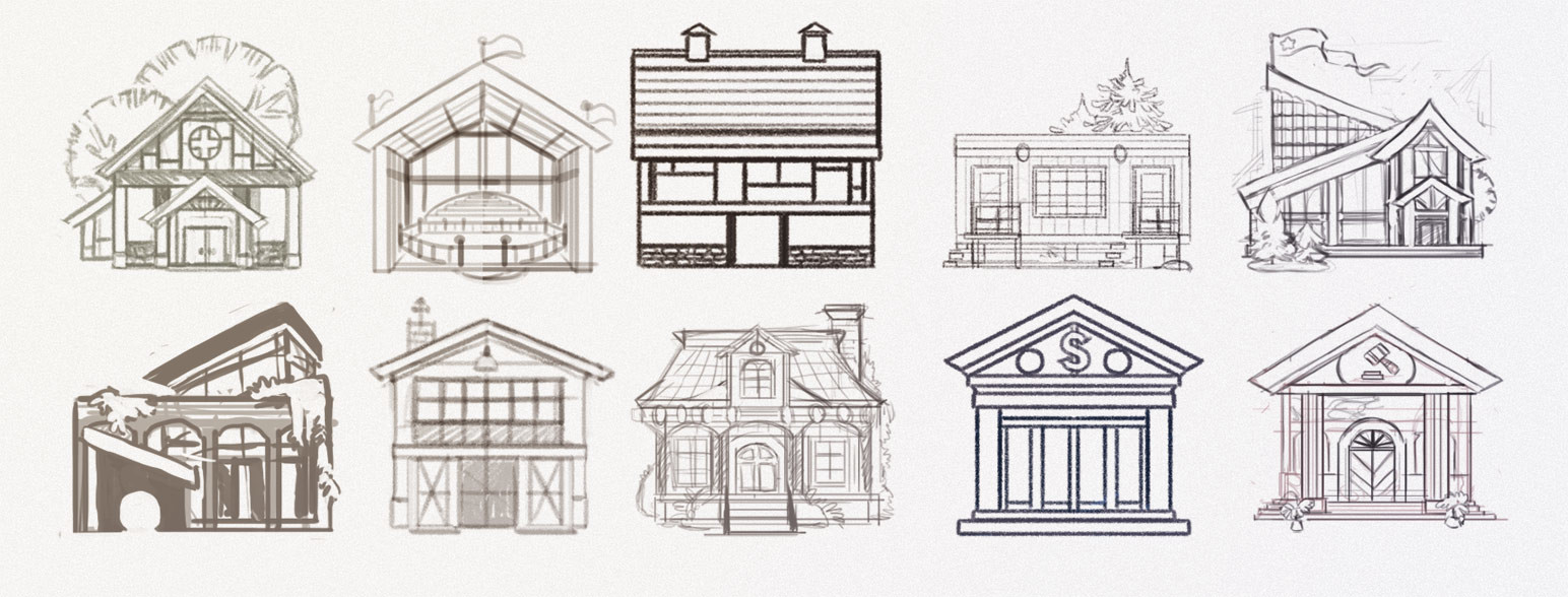 Rough sketch designs  of the building icons.