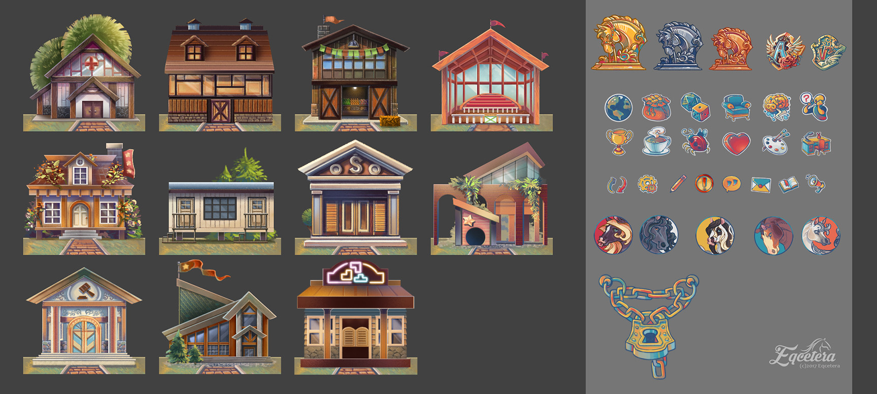 "Icons for the interactive web game ""Eqcetera"""