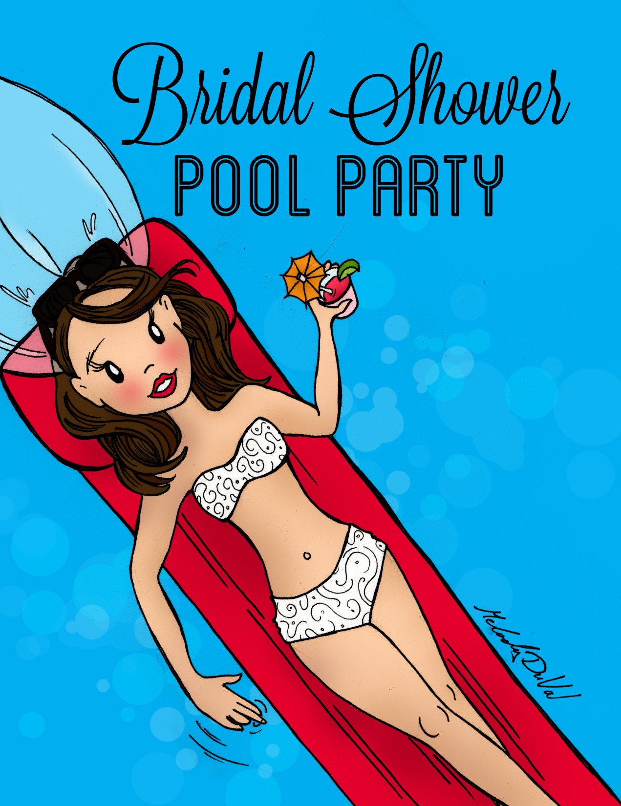 Melody duval bridal shower invites melody duval bridal shower pool party invite front cover sample filmwisefo
