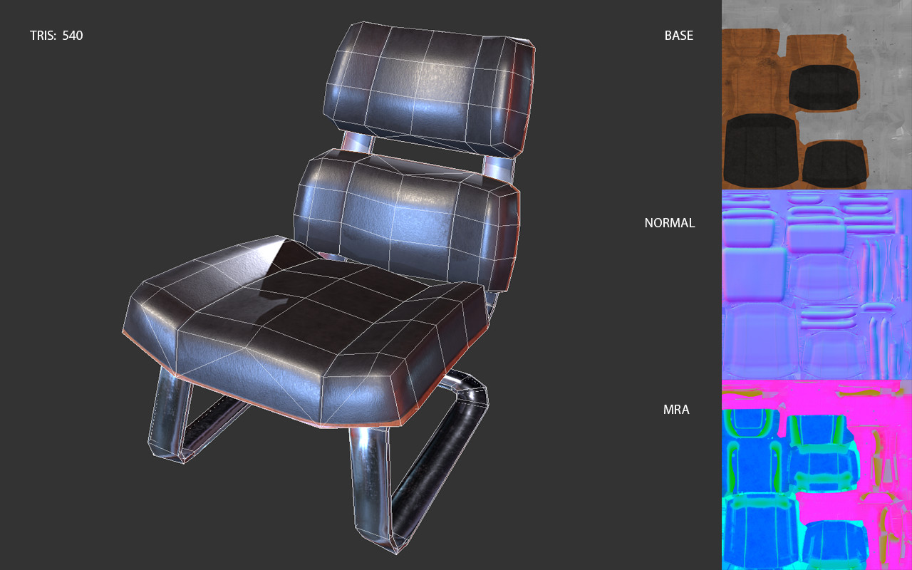 Low poly game asset: Hypatia Projector Room Seat