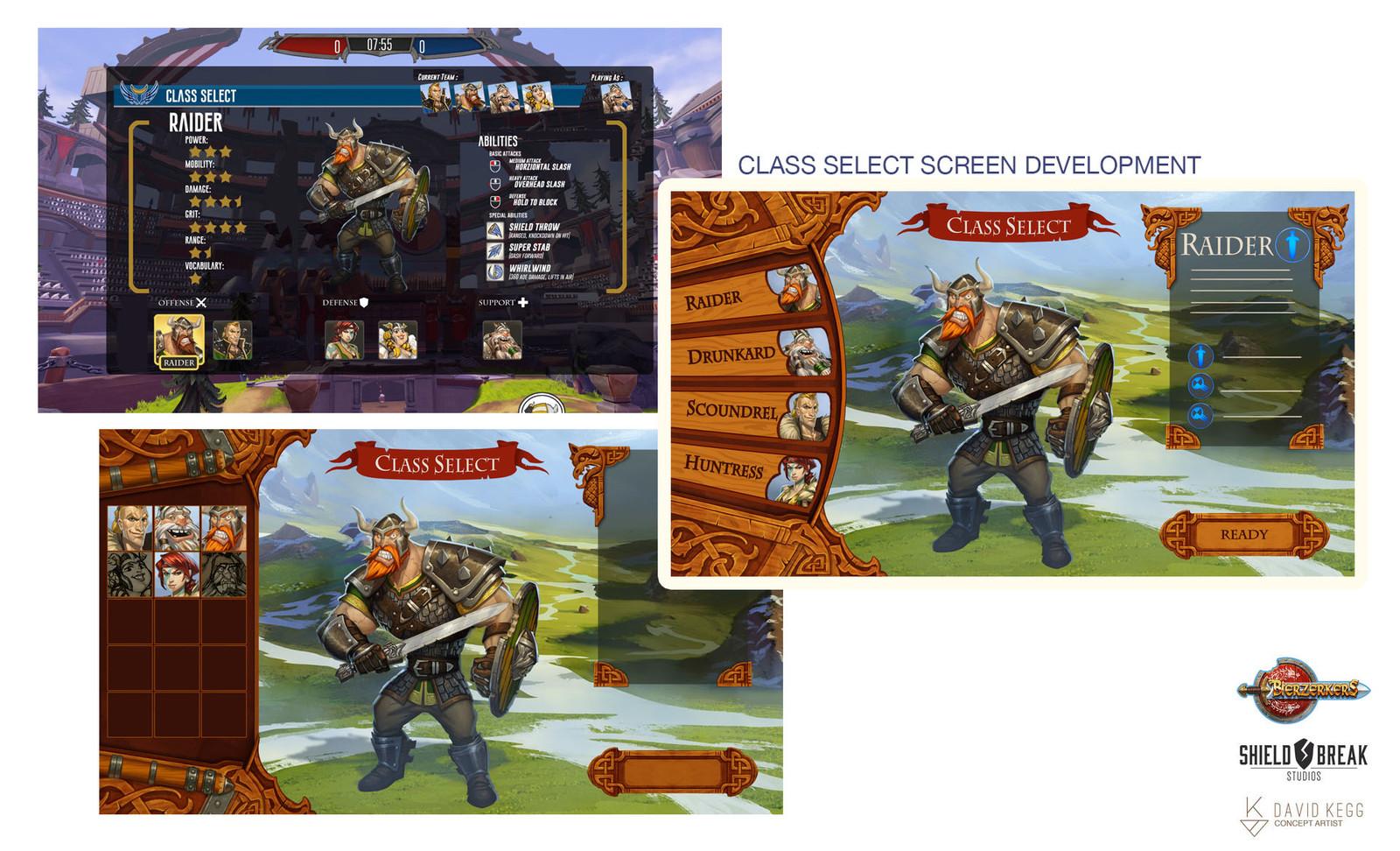 Class Select Screens