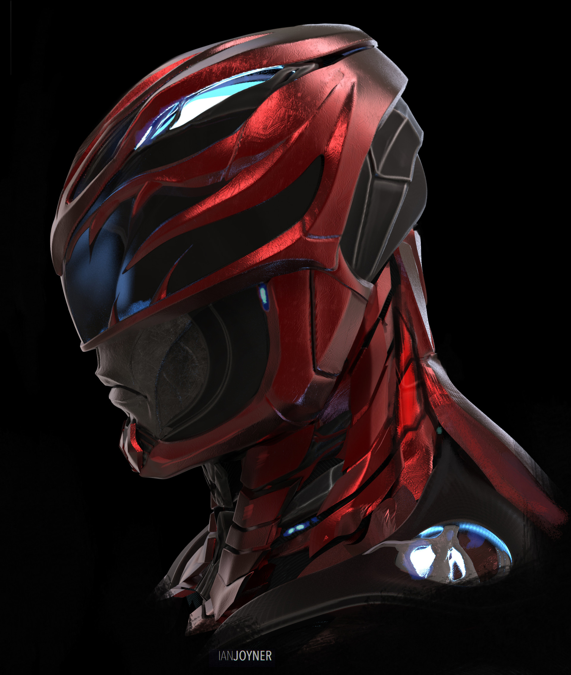Ian joyner red ranger power rangers for Helm design