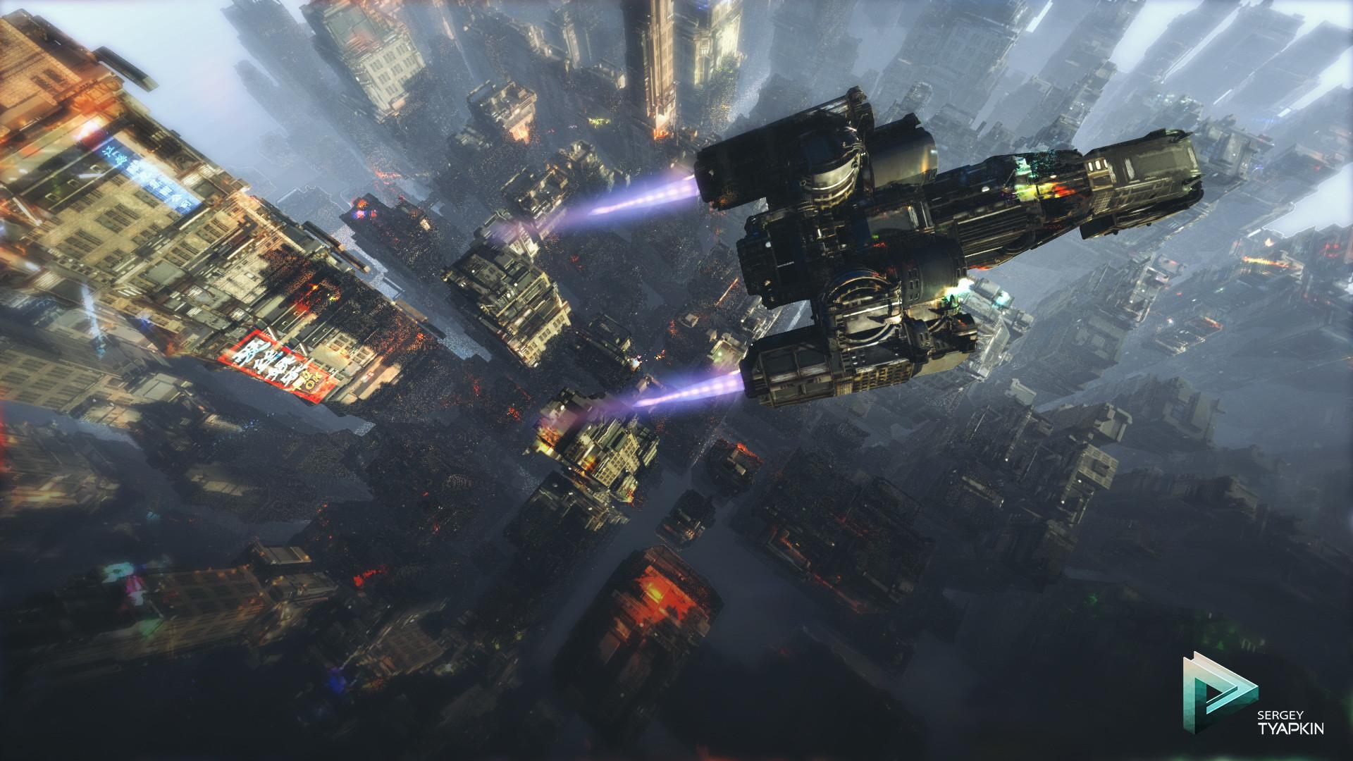 Sergey tyapkin scifi city concept scene 01