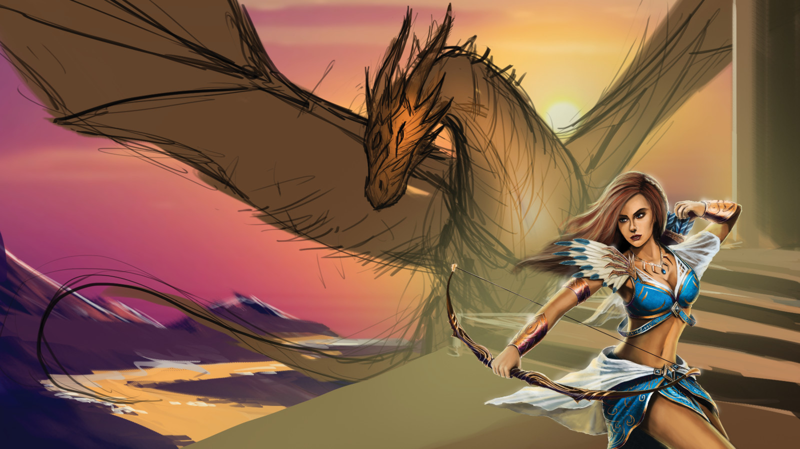 Aella almost done, getting in the details for the landscape