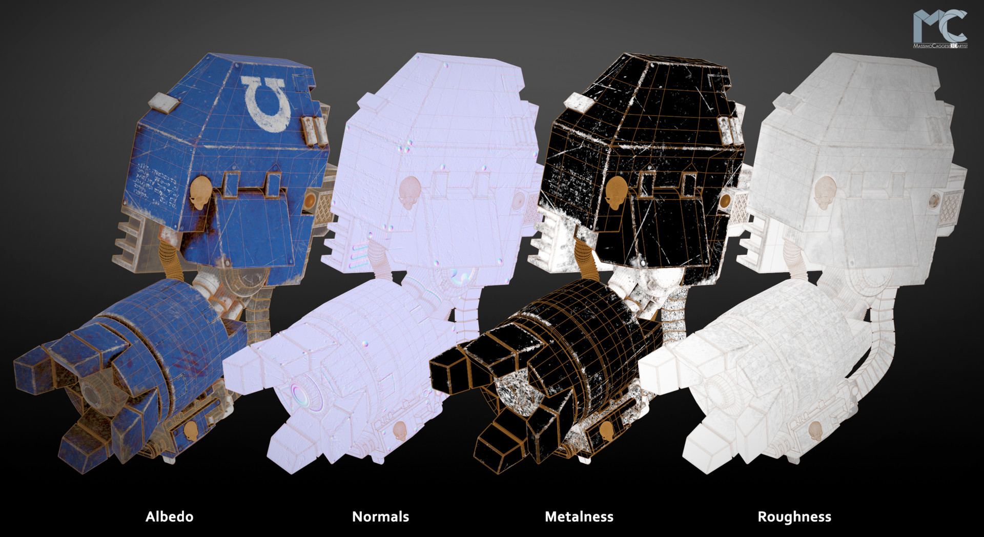 Maps displayed: Albedo, Normals, Metalness, Roughness