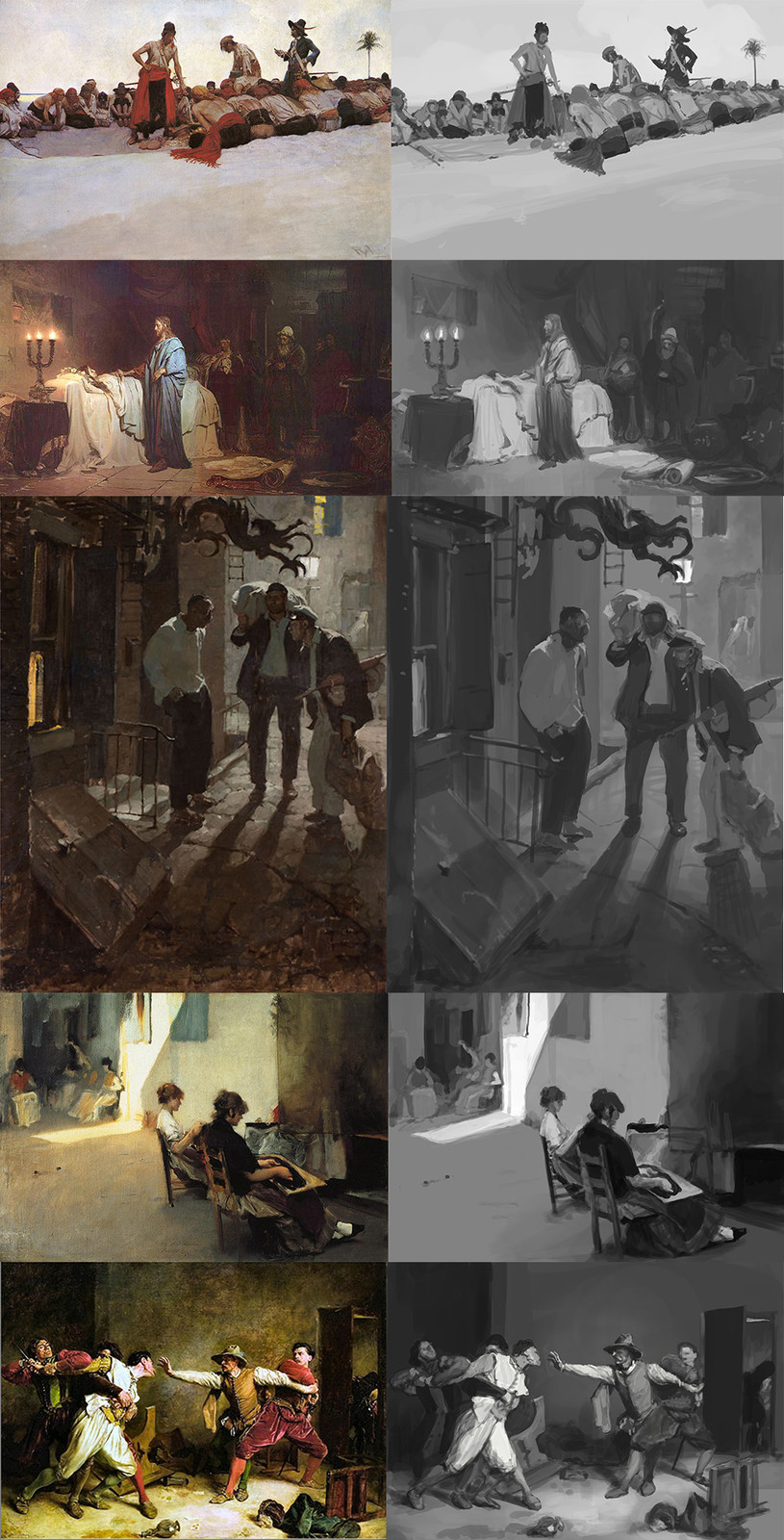 Value studies from references.