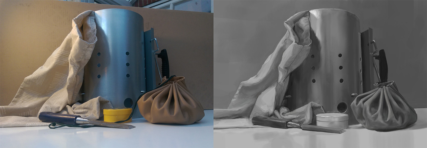 Still life value study.  (not enough contrast is my motto, apparently)