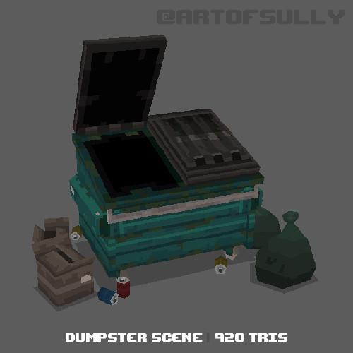 3D Pixel-Art Dumpster Scene (Commission)